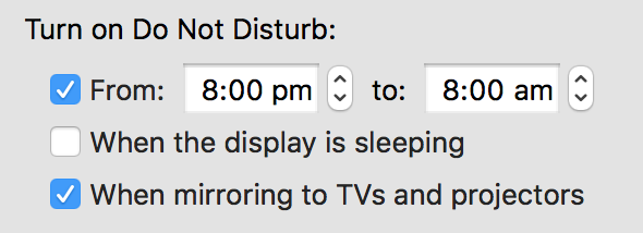 Do not disturb when mirroring